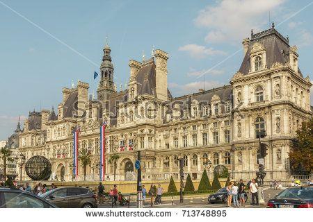 View with Hotel-de-Ville, Paris City Hall building on August 26, 2017 in Paris, France.