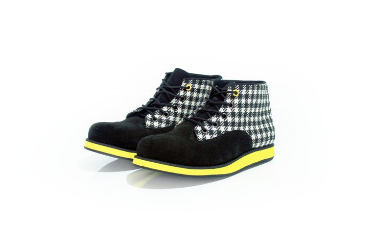 yellow clair  #boot #shoes #fashion #tosca #pattern #cute #handmade #angkleboot #blackandwhite #colorful #houndstooth #plaid