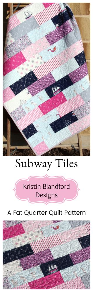 Subway Tile Quilt Pattern, Fat Quarter Friendly Quilt Pattern for Beginners, Simple Quilt Quilt to Make Yourself, Baby Size Throw Size Quilting Sewing Ideas by Kristin Blandford Designs #quilts #quilting #beginnerquiltpattern #pdfquiltpatterns #simplecrafts