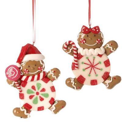 """RAZ Gingerbread Candy Boy Girl Christmas Ornament Set of 2  2 Assorted Styles Set includes one of each style Made of Claydough Measures 3.25"""" X 2.75"""", 3.5"""" X 2.5""""  RAZ Christmas Moose 2013"""