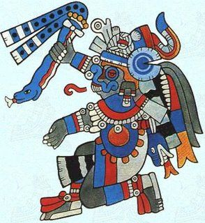 """Tlaloc - He who makes things grow  Known to the Olmec as """"Epcoatl"""", meaning Seashell Serpent; to the Maya as Chac; to the Totonacs as Tajin; to the Mixtecs as Tzahui; to the Zapotecs as Cocijo. A water god and probably among the oldest gods. Benevolent, he would release floods and lightning when angered."""