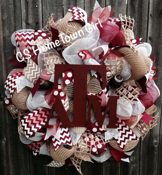 Texas A & M Football Wreath by CSHomeTownGirl on Etsy, $85.00