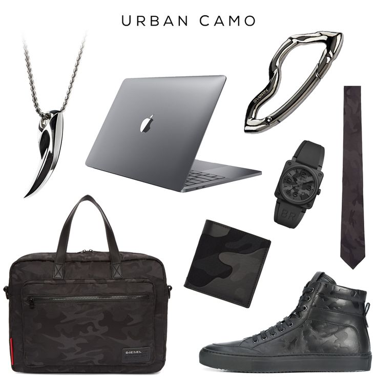 Urban Camo Clockwise (from top left): Fenrir fang pendant in Chrome Noir finish by SVORN, MacBook Pro in Space Grey finish by APPLE, Arcus carabiner keychain in Chrome Noir finish by SVORN, Camo Tie by VALENTINO, Camo 42mm Ceramic And Rubber Watch by BELL & ROSS, Primo Nero Camo sneaker by KOIO, Camo Wallet by VALENTINO, Black Camo F Discover Briefcase by DIESEL  #camo #camouflage #black #sneakerhead #sneaker #sneakers #apple #macbook #macbookpro #valentino #diesel #work #watch #edc…