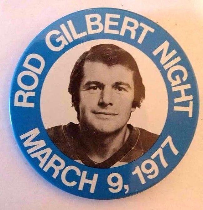New York Rangers Hockey - 1977 ROD GILBERT NIGHT - NY City  Commemorative Button