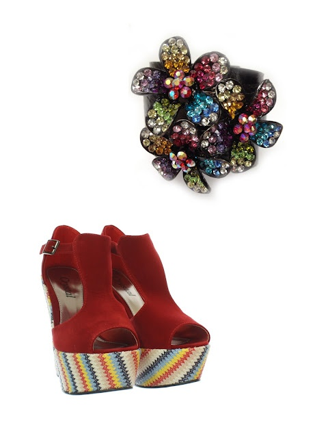 Isn't much of a challenge with this extravagant duo. The rainbow floral cuff by Anna Kaufer 1 800 717 6191 beautifully compliments these radical platform wedges.      http://alexiglitz.blogspot.ca/