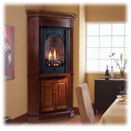 Corner ventless fireplace