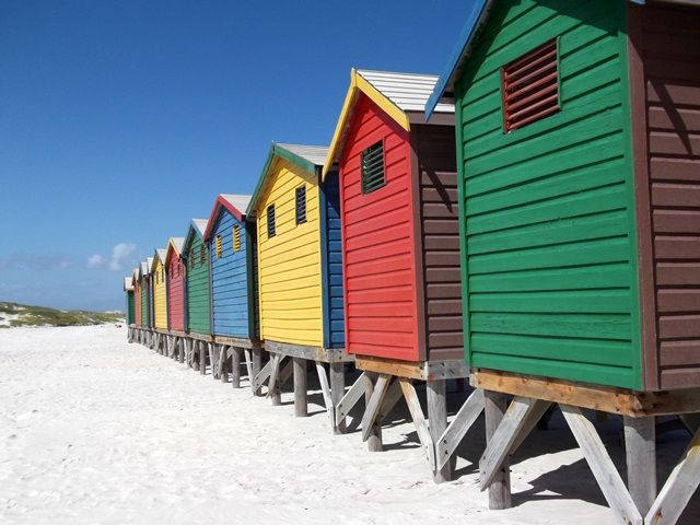 Cape Town's iconic colourful huts at Muizenberg Beach
