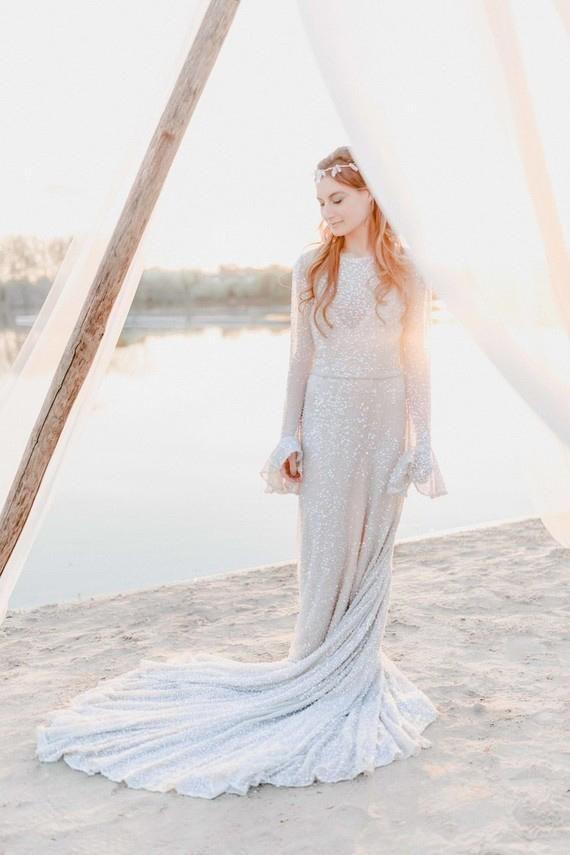 Sheath Long Sleeve Round Neck Court Train Lace Bridal Dress With Sequins – JoJoBride #wedding #weddinghairstyles #weddinginvitations #weddingflowers...