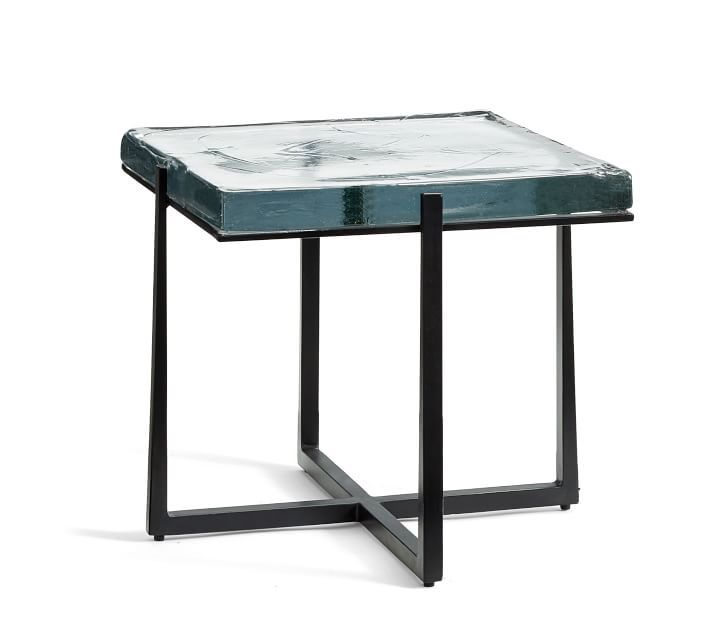 Cory Square Glass End Table Bronze Recycled Glass End Tables