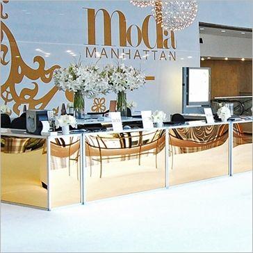 "Moda Manhattan Tate gold bar tate bar features an aluminum frame with gold plexi inserts    tate bar available in gold, silver, milk,or black plexi.    bar dimensions:  24"" D x 72"" W x 40"" H"