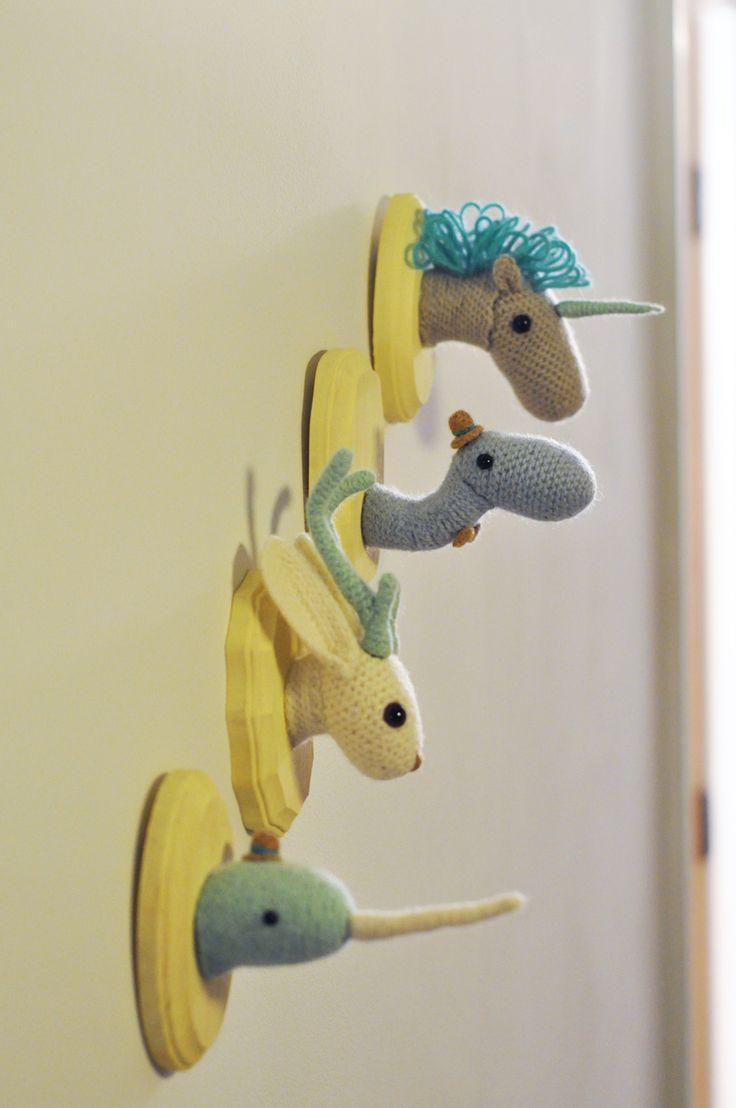 : Crochet Taxidermy, Wall Decor, Crochet Animal, Boys Rooms, Animal Head, Baby Rooms, Mythical Creatures, Stuffed Animal, Kids Rooms