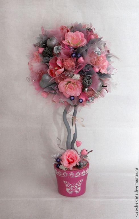 """Купить Топиарий """"SilveRose"""" - разноцветный, серый, серебряный, нежный, розовый, красивый топиарий, подарок на свадьбу"""