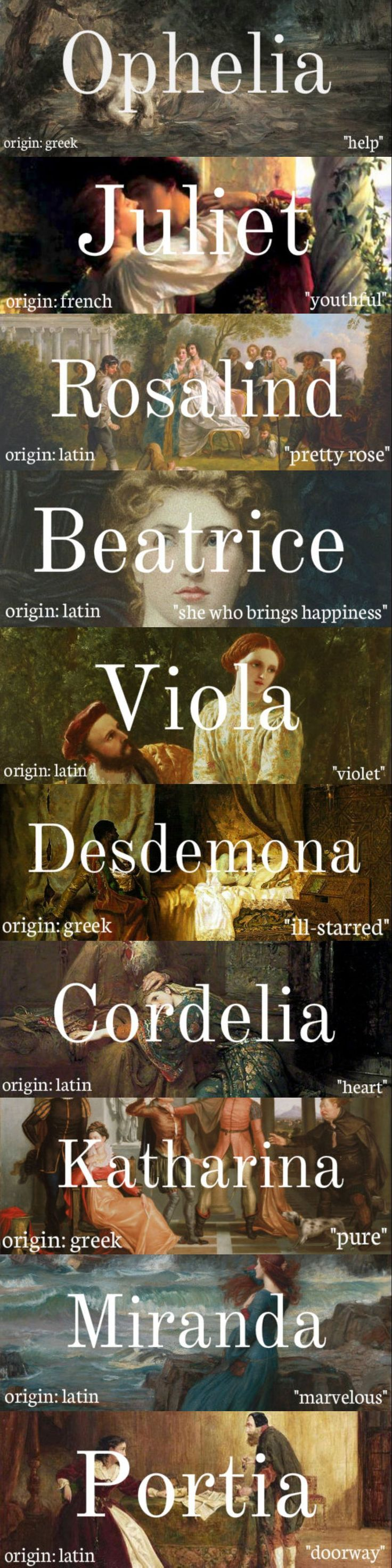 women of shakespeare + name meanings note: some of these names had multiple meanings, so i chose the one i felt best suited the character ....