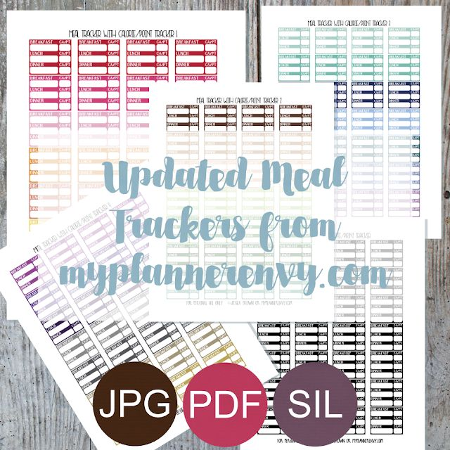 Updated Meal Trackers with Calorie/Point Tracker - Free Planner Printable