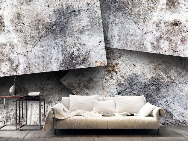 Large concrete slabs photo wallpaper. Via en.DaWanda.com.