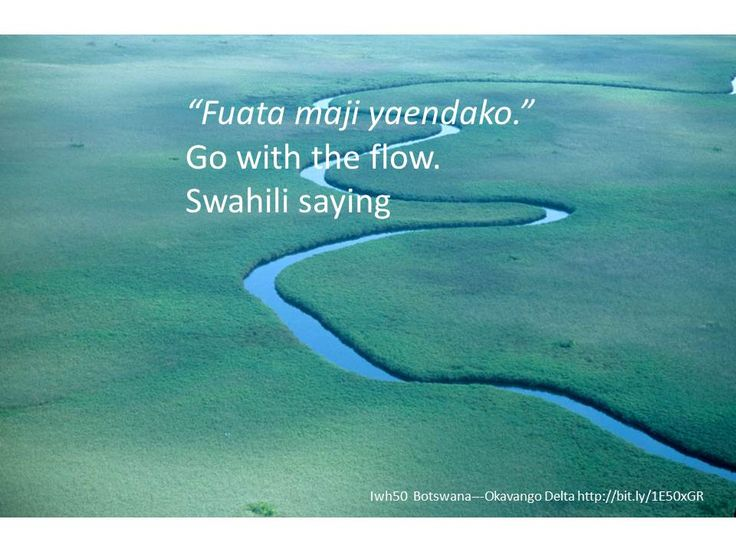 """Fuata maji yaendako."" Go with the flow. Swahili saying"