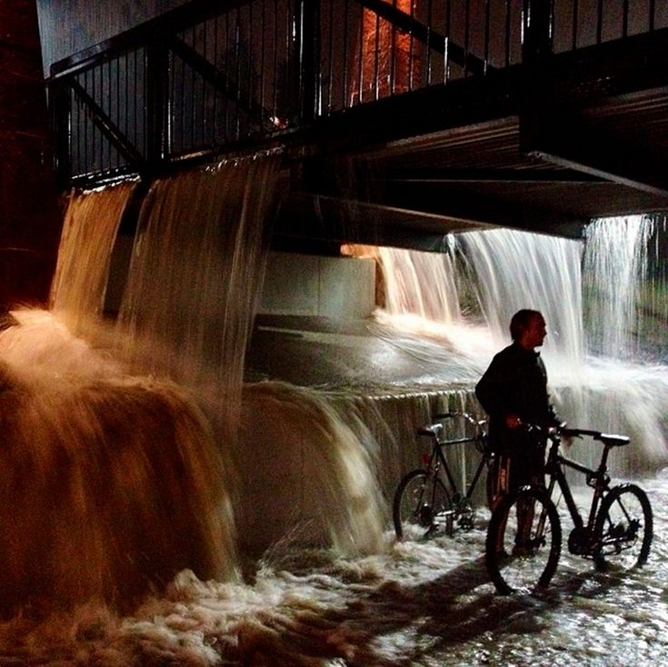 Flood waters caused by torrential rains pour into an underpass on the University of Colorado campus in Boulder (Sept 2013)