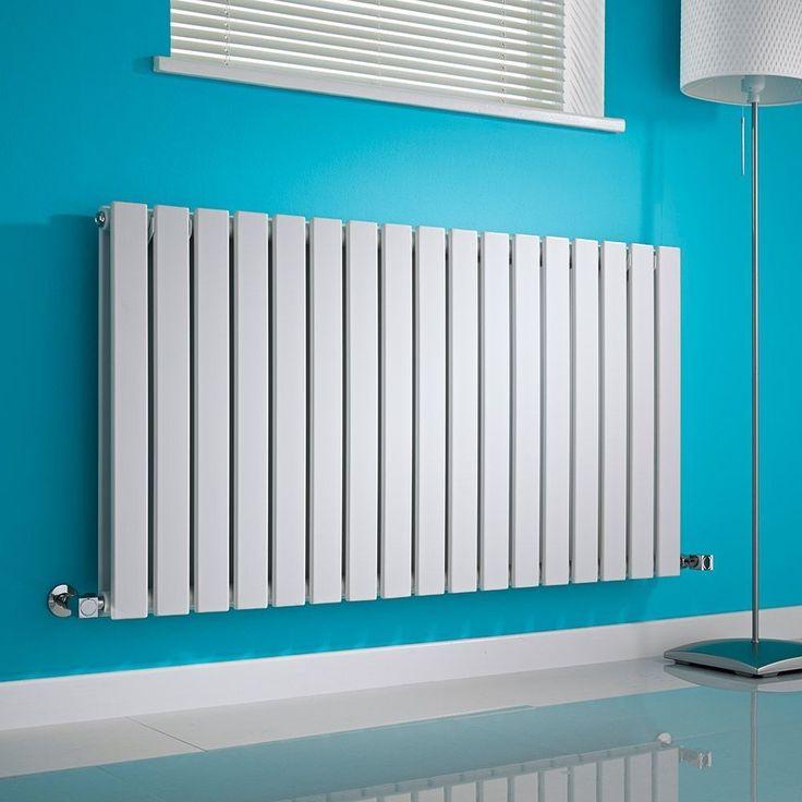 Milano Alpha - White Horizontal Double Slim Panel Designer Radiator 635mm x 1190mm - White Horizontal Designer Radiator in blue hallway