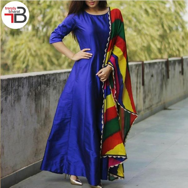 Rule the streets wearing this blue plain semi stitched taffeta long anarkali suit.