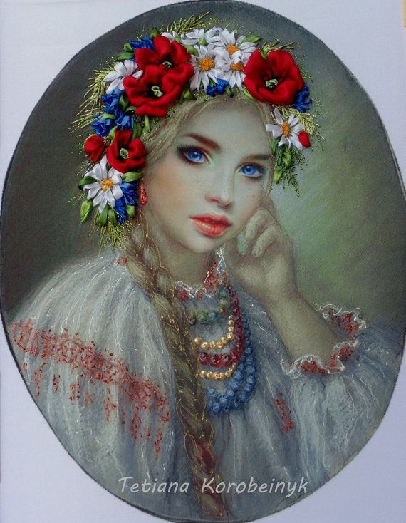 Embroidery handmade, with ribbons of silk and satin, adjusted later with the colors acrilic.The work is not framed. Measure is 39x29 cm
