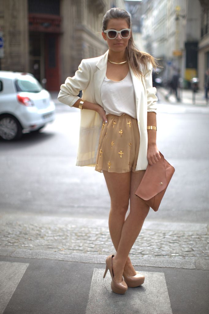 neutral tones: Fashion Beautiful, White Blazers, Clothing, Street Style, Cities Chic, Outfit, Shorts, Nude Heels, Dreams Wardrobes