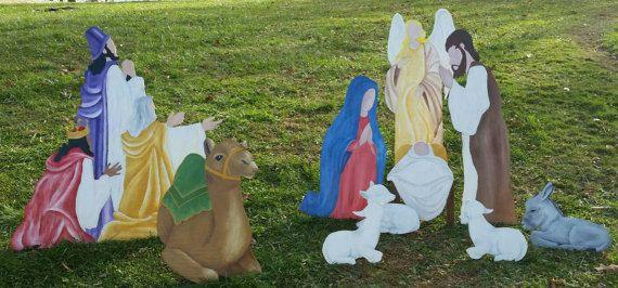 SALE  10 Piece Christmas Nativity Set   Hand by PrimitivePaintings