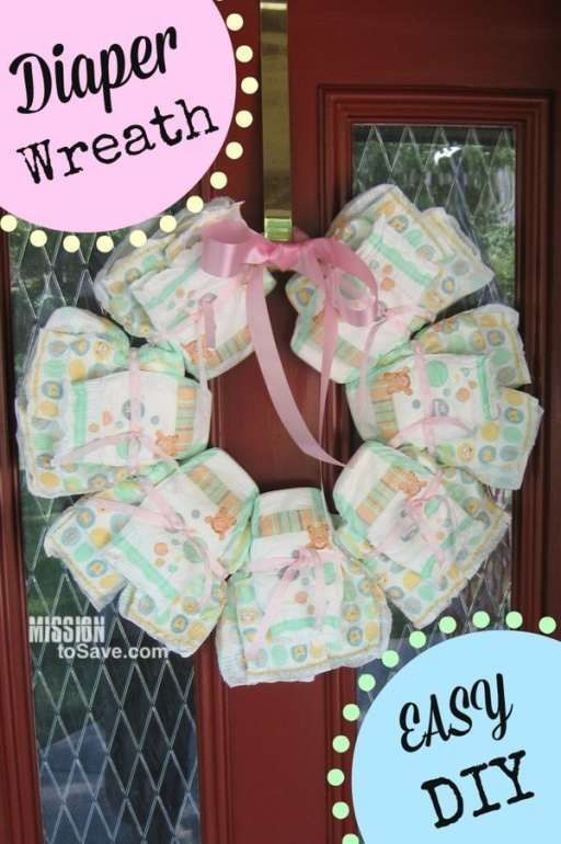 DIY Diaper Wreath Make A Perfect Gift Idea To Welcome Baby Home! (and Itu0027s