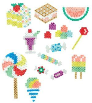 Perler Beads Bucket o' Beads Fused Bead Kit, Sweet Shoppe by Perler Beads. $10.99. Kit includes 5000 beads, small square color pegboard?, pattern sheet with ironing instructions and ironing paper. For ages 6 years and above. Create candy, ice cream and more with new pearlized beads. Makes 15 projects. Contains 500X? pieces. From the Manufacturer                Create sweet treats with the Perler Sweet Shoppe Bucket o' Beads fused bead kit. New pearlized beads fuse with classic ...