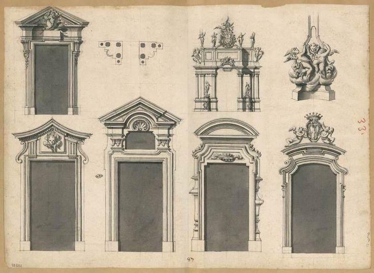 [Feuille d'études : Cinq portes, un arc de triomphe, une base sculptée, un plan]   Centre de documentation des musées - Les Arts Décoratifs