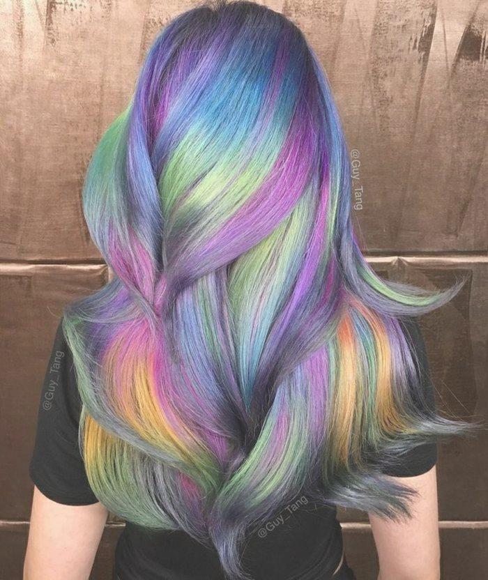 Bunte Haare Lila Ansatz Blaue Langen Lila Strahnen Orange Strahnen
