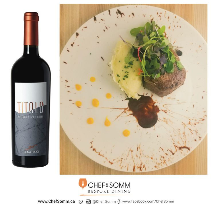 "Boeuf à l'Orange; Beef Tenderloin with Orange Marmalade, Celeriac Purée and Valrhona chocolate sauce – paired with Elena Fucci ""Titolo"" Aglianico del Vulture DOC 2014 Basilicata, Italy $59.95"