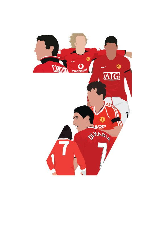 Manchester United Number 7 A3 Poster: by FootyIllustrations