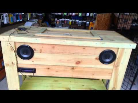 Wooden Ice Chest I Made With Stereo And LED Lights