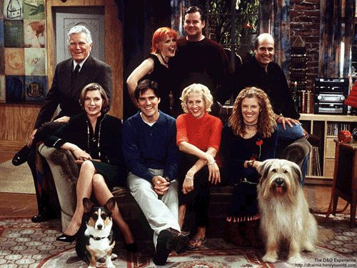 Jenna Elfman (Dharma Finkelstein),  Thomas Gibson (Greg Montgomery),  Mimi Kennedy (Abbey), Joel Murray (Pete) Alan Rachins (Larry) &  Susan Sullivan (Kitty) - Dharma and Greg