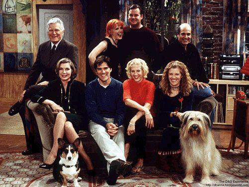 Jenna Elfman (Dharma Finkelstein),  Thomas Gibson (Greg Montgomery),  Mimi Kennedy (Abbey), Joel Murray (Pete) Alan Rachins (Larry) &  Susan Sullivan (Kitty) - Dharma and Greg