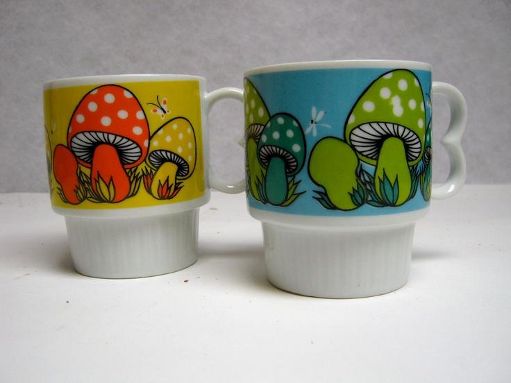 vintage 1970s set of 2 mushroom mugs. $16.00, via Etsy.