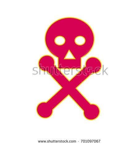 Illustration of a Poison Symbol icon, the skull-and-crossbones symbol , consisting of a human skull and two bones crossed used as a warning of danger, particularly in regard to poisonous substances  #poison #retro #illustration