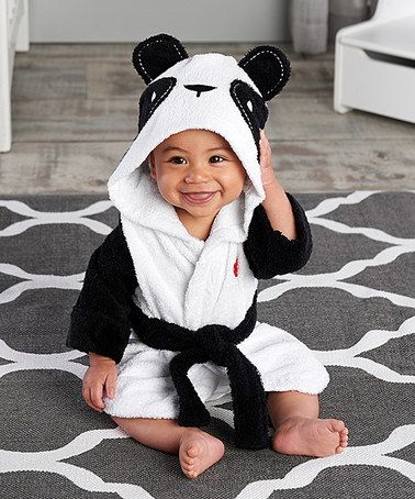 $19.99 marked down from $32! White & Black Panda Robe - Infant #panda #zulilyfinds
