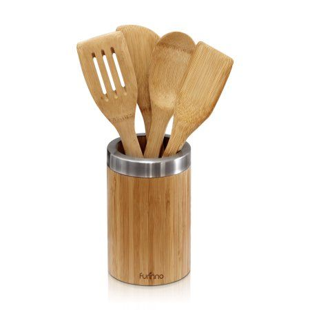 Furinno DaPur Bamboo Cooking Utensil Set with Holder 5-PC, FK2260