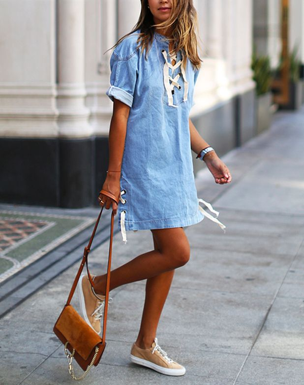 One of the biggest trends in denim according to PureWow - the lace up dress!