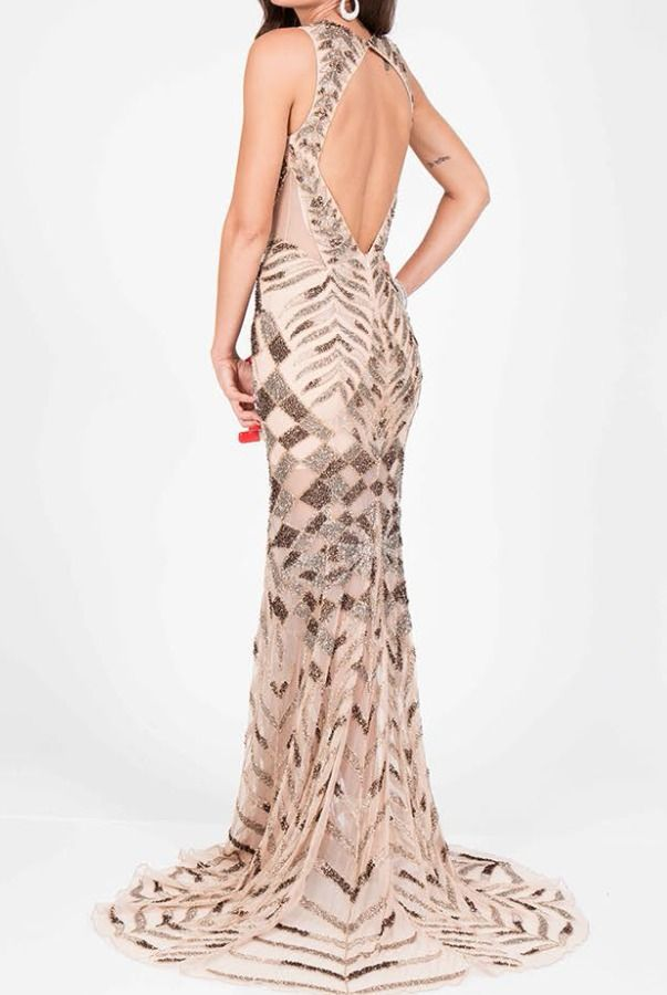 266ac005888a Terani Couture Beaded Open Back Gown in Gold Nude Prom Dress | Poshare Make  a bold statement in Terani Couture Prom 1713P2668. The back is open giving  you ...