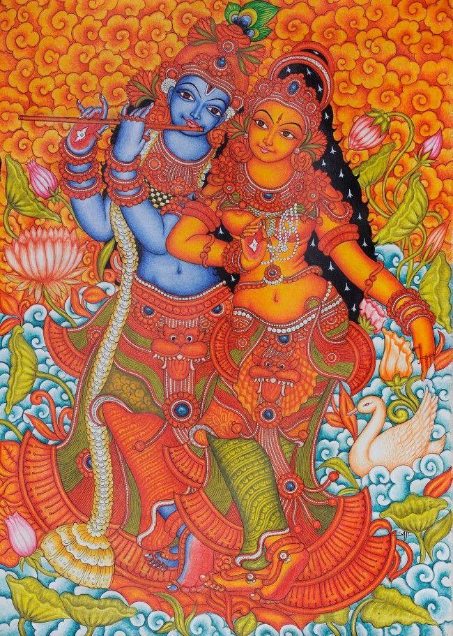 28 best kerala mural paintings images on pinterest mural for Mural radha krishna