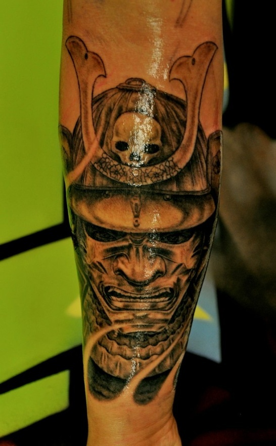 Samurai With Skull Helm Tattoo - Daily Dose Of Tattoos