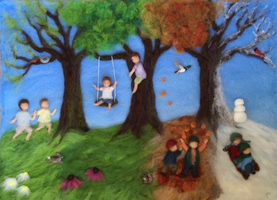 Waldorf Seasons Needlefelt Wool Painting di ClaudiaMarieFelt