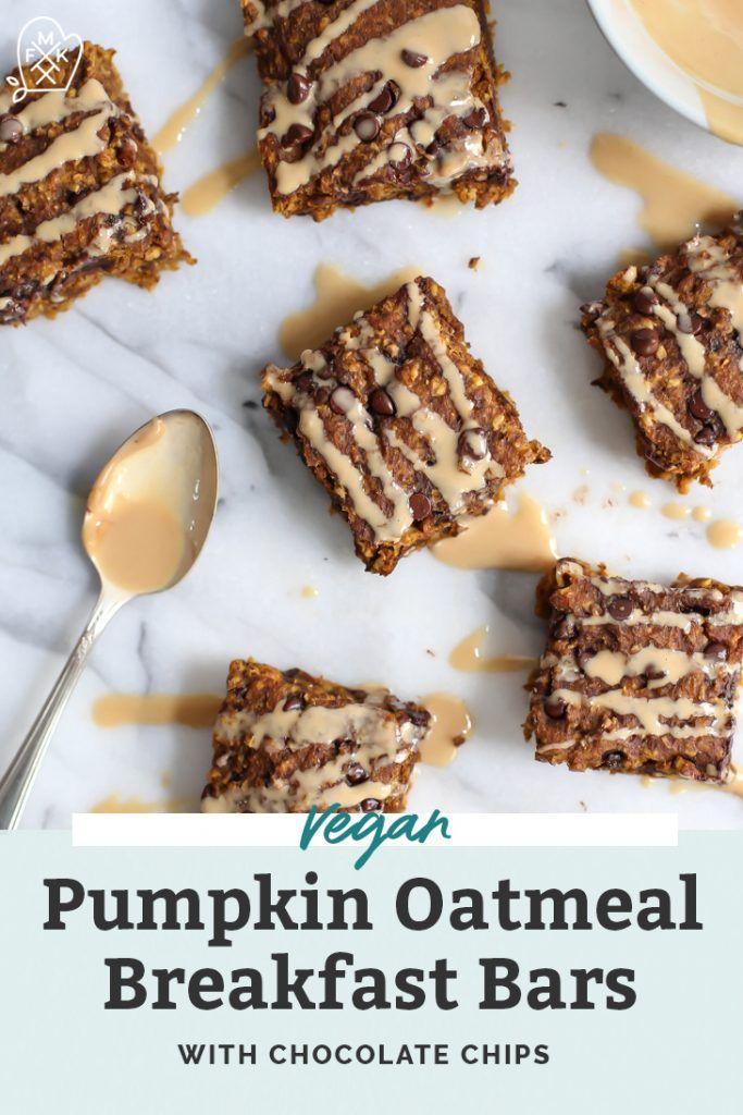 Gluten Free Vegan Chocolate Chip Pumpkin Oatmeal Breakfast Bars Recipe Pumpkin Oatmeal Oatmeal Breakfast Bars Breakfast Bars