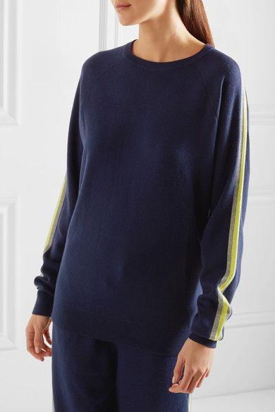 Olivia von Halle - New York Striped Silk And Cashmere-blend Sweatshirt And Track Pants Set - Navy
