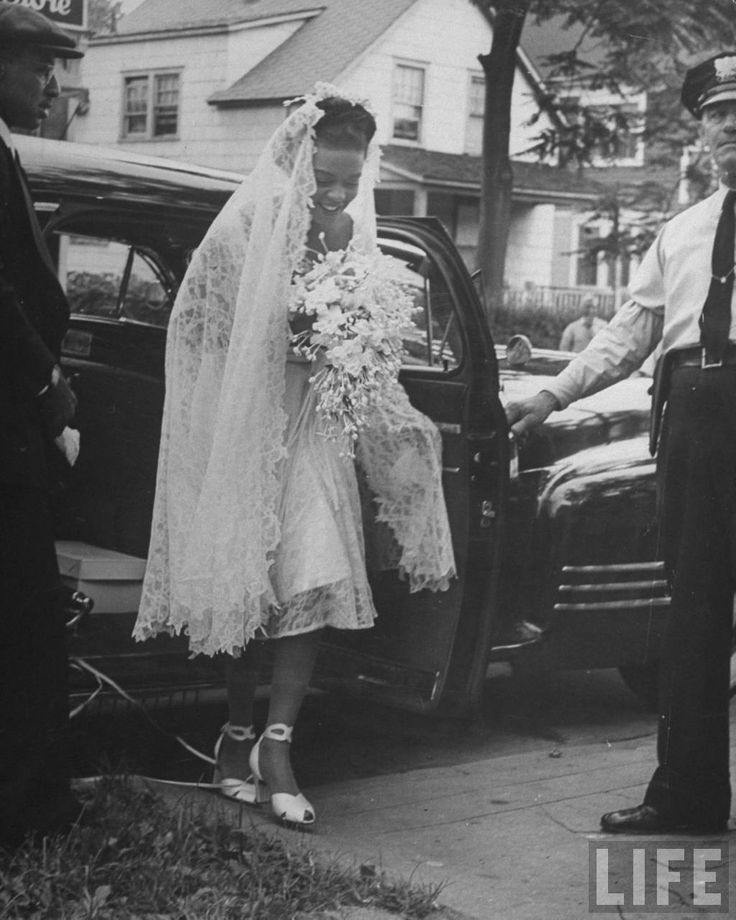 "Hazel Scott marries Adam Clayton Powell Jr, 1945  ""Powell weds Scott. 3,000 New Yorkers honor the marriage of Harlem's preacher-politician to a beautiful hot piano player""  13 Aug 1945, Life magazine. lascasartoris.tum...  [her lace veil is exquisite!]"
