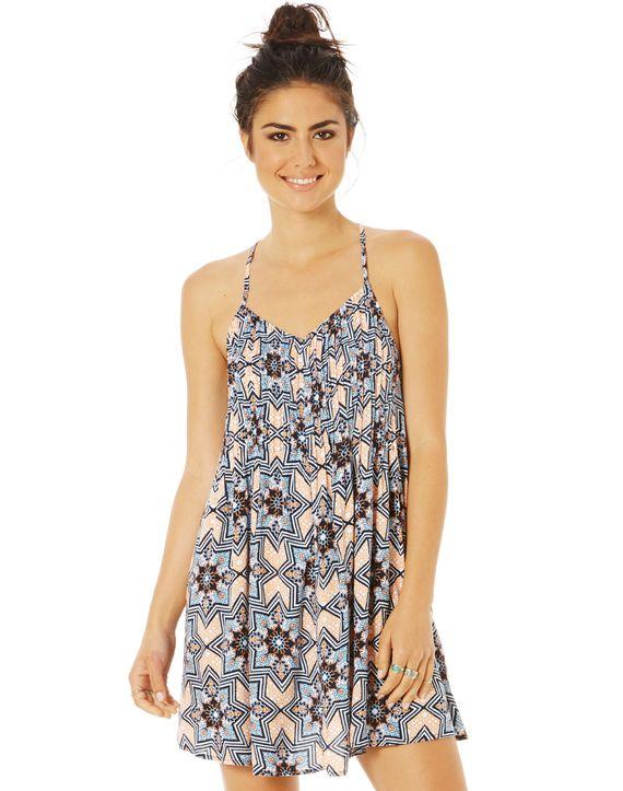 Pleat Front Print Dress