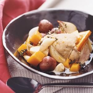 The addition of butternut squash and a fresh orange makes this braised chicken company worthy. Round out the chicken-and-vegetables meal with rice steamed in the microwave, and your dinner prep is complete.