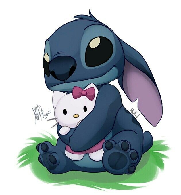 Stitch and Kitty ....AAAWWGHH! THIS PICTURE IS SO CURE BUT THAT KITTY I SWEAR IS HELLO KITTY AND I DON'T LIKE HELLO KITTY! IDK HOW I FEEL